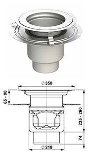 gully 218 adjustable height with bonding flange round