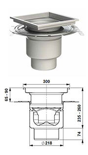 gully 218 adjustable height with bonding flange square